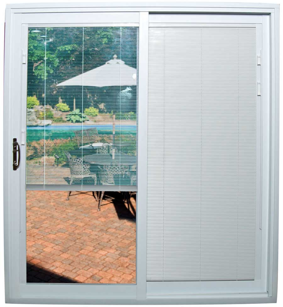 a sliding glass door with partially opened mini-blinds